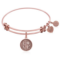 Expandable Bangle in Pink Tone Brass with Volleyball Symbol