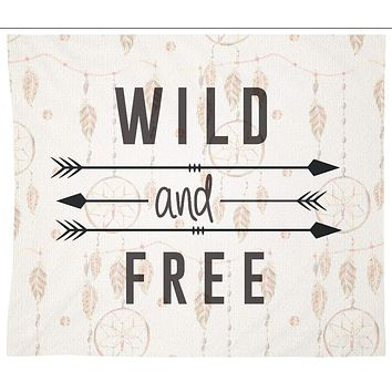 Wild and Free Quote Tapestry Wall Hanging Meditation Yoga Grunge Hippie Wanderlust