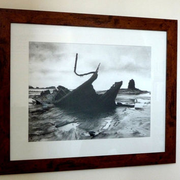 Wreck and rock, original charcoal drawing, art, black and white