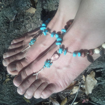 Turtle anklet,  Barefoot sandals. wedding, boho sandals, barefoot sandles, crochet barefoot sandals, anklet, hippie shoes, native american