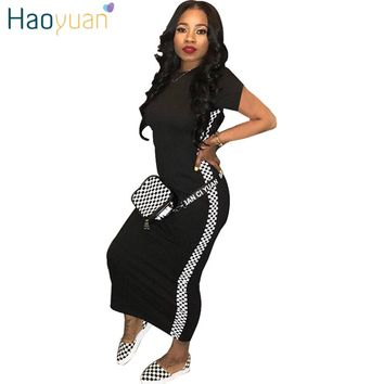 HAOYUAN Checkerboard Plaid Women Maxi Dress 2018 New Robe Sexy Sundress Long Bodycon Dress Party Summer Dresses Casual Vestidos