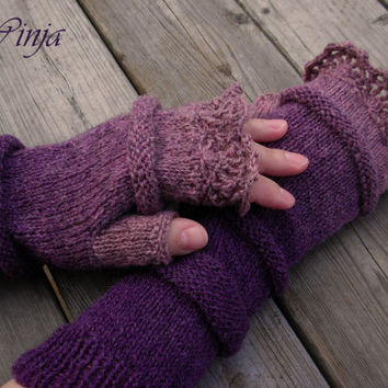 Knitted gloves, fingerless gloves, knitted mittens, arm warmers, lilac gloves, grey mittens, boho mittens, ruffle gloves, hand knit gloves
