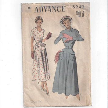 Advance 5242 Pattern for Misses' Fitted Hour-Glass Dress, Size 12, From 1940s, Vintage Pattern, Sweetheart Neck, Peplum, NON Print Pattern