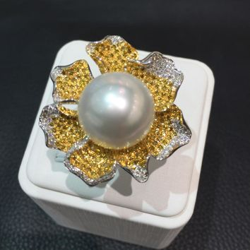 Miyi 15MM Natural South Sea Pearl & 18K Gold With Diamond Flower Ring