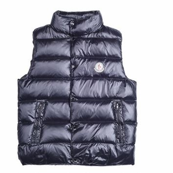 Moncler Men's TIB Dark Navy Down Full Zip Button Down Vest - Best Deal Online