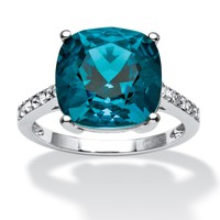 Cushion-Cut Denim Blue Crystal Ring Made with SWAROVSKI ELEMENTS in Platinum over Sterling Silver
