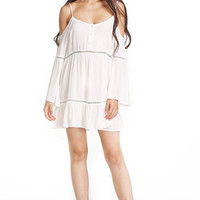 Swing Dress With Crochet Inserts And Cold Shoulder