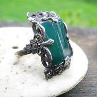 Beautiful Antique - Vintage Sterling Silver Chrysoprase Marcasite Ring - Large with Fancy Floral Detail