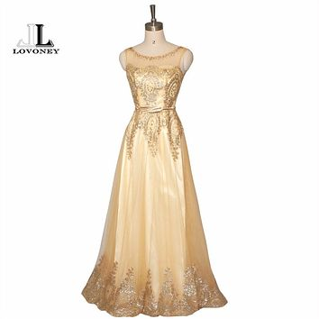 LOVONEY Vestido De Festa Elegant V-Opening Back Golden Evening Dress Long Lace Up Prom Party Dress Formal Dresses Hot Sale M206
