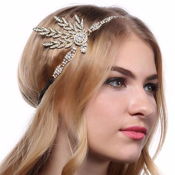 1920s Vintage Bridal Headpiece Costume Hair Accessories Flapper Great Gatsby Inspired Leaf Medallion Pearl Headband