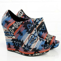 Paradise Island Blue Tribal Peep Toe Wedges