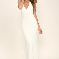 Love Potion Ivory Lace Halter Maxi Dress