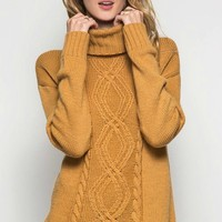Cable Knit Turtleneck Sweater - Caramel - FINAL SALE NO RETURNS NO EXCHANGES