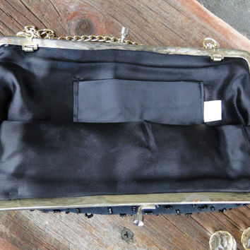 Vintage 1950s Black Beaded Evening bag with gold strap by Walborg of Hong Kong, vintage purse, Mid century black beaded evening bag clutch