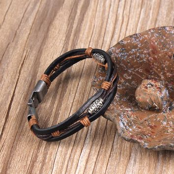 Punk Genuine Wrap Leather Bracelets Men For Women Charm Anchor Bracelets
