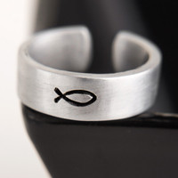Fish Symbol Christian Ring