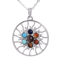 7 chakra natural stones pendant long chain necklace