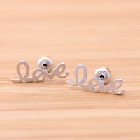 love stud earrings in silver by lovelygirlsluvit on Etsy