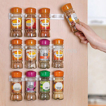 4Pcs Spice Wall Rack Storage Plastic Kitchen Organizer 5 hooks/1pcs GripperHU