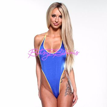 Monokini G-String - Electric Blue - Yellow String