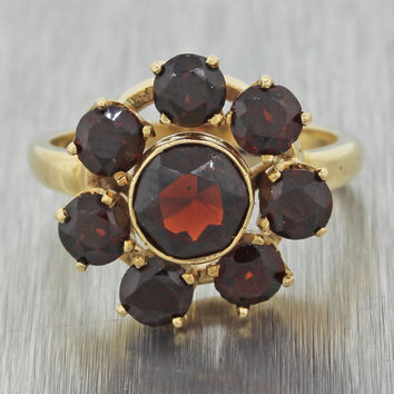 1930s Antique Art Deco 14k Solid Yellow Gold 2.40ctw Garnet Cluster Flower Ring
