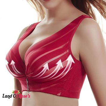 Full Cup Thin Underwear Push Up Wireless Adjustable Lace Bra Breast Cover B C D Cup