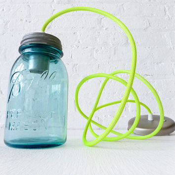Vintage Mason Ball Jar Pendant w/ Neon Yellow Net Color Cord