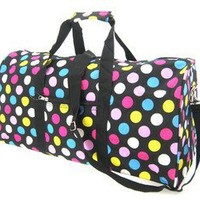 "Teens and Women's Overnight, Weekend or Gym 21"" Duffle Bag (Polka Dots - Black/Multi)"