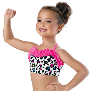 Girls' Cheetah Ruffled Dance Bra Top; Little Stars