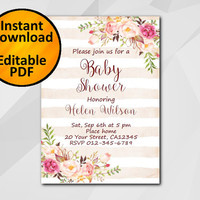 Editable Baby Shower Invitation, Watercolor Peach stripe Invitation, Instant Download diy, etsy Baby Shower invitation XB320ps-1