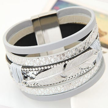 New Fashionable Alloy Feather-Leaves, Leather bracelets & bangles for Women