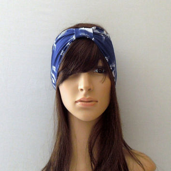 Ikat Blue Turban