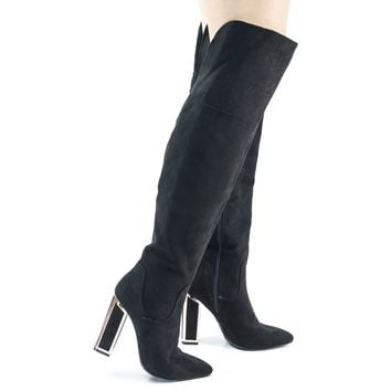 Illusion03 Black Faux Suede Over Knee Thigh High Metal Frame Chunky Block Heel w Faux Fur Lining