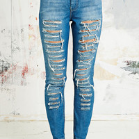 Light Before Dark Destroyed Jeans in Blue - Urban Outfitters