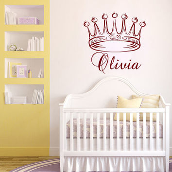 Princess Crown  Personalized Name Girl Nursery Wall Decals - Wall Vinyl Decal - Interior Home Decor - Housewares Art Vinyl Sticker  L591