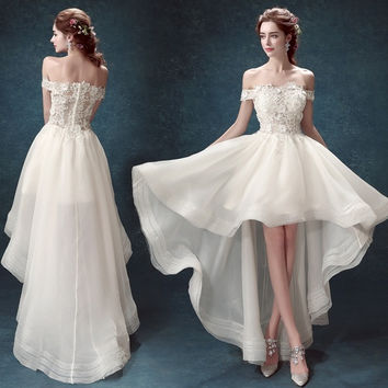 Princess lace slim princess bride high low wedding dress 2015 new