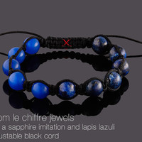 Paris quartz and lapis lazuli shamballa bracelet