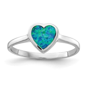Sterling Silver Created Blue Opal Inlay Heart Ring