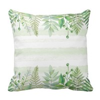 Watercolor Tropical Ferns Greenery Stripes Throw Pillow
