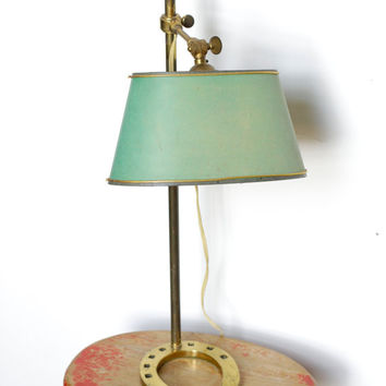 Vintage French Horseshoe Table Lamp - Horse Shoe Brass Lighting Decor