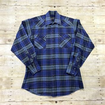 Vintage 90s Panhandle Slim Permanently Pressed Blue Plaid Pearl Snap Button Up Shirt Mens Size 15 1/2 - 34