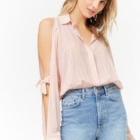 Pinstripe Open-Shoulder Shirt