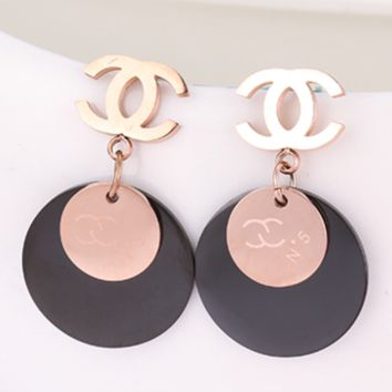 CHANEL New Fashion Number 5 logo Round Earrings Golden