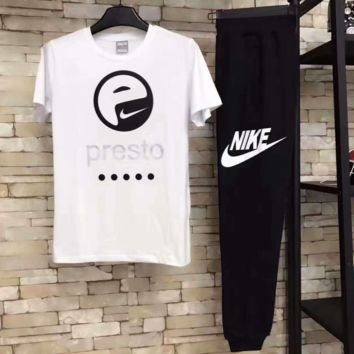 NIKE Fashion print short sleeve shirt and black pants two piece suit