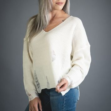 Ivory Distressed Oversized Chunky Sweater