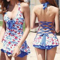 Halter Strawberry Print Backless Swimwear