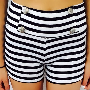 Silver Button Stripe Shorts