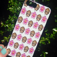 Iphone 4 4S Phone Case Emoji Monkey Floral Print Hipster Phone Cover