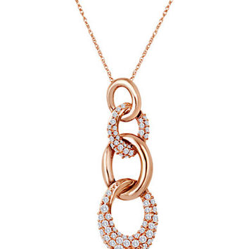 Levian 14 Kt. Strawberry Gold Diamond Circle Pendant
