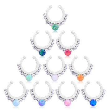 New Arrival OPAL Nose Hoop Nose Rings Body Piercing Jewelry Fake Septum Clicker Non Piercing Hanger Clip On Jewelry